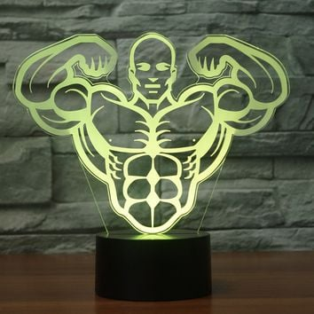 3D Illusion Night Light  LED Light 7 Color with Touch Switch USB Cable Nice Gift Home Office Decorations,Muscle Man-2