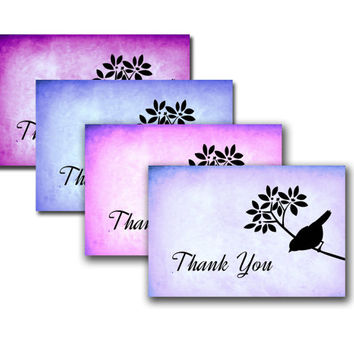 Printbal thankyou cards -  Instant Download - Thank you card - bird card - Modern art card -folded card for download