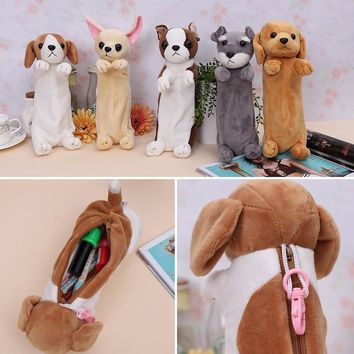 New Kawaii Animal School Stuffed Plush Chihuahua Toy Dogs Bag Papelaria Pencilcase Tools for Children kindergarten Kids