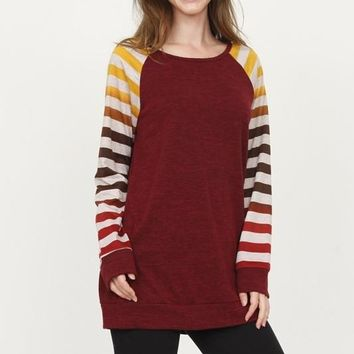 AALIYAH Striped Long Sleeve Ombre Tunic in Burgundy