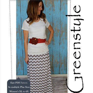 Amy Chevron Skirt PDF Sewing Pattern for Women's Plus Sizes XL to 4X with Yoga Waistband