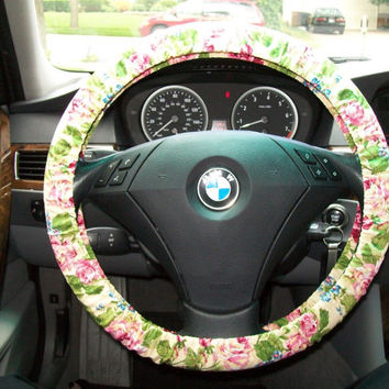 Burgandy Rose on Yellow Steering Wheel Cover
