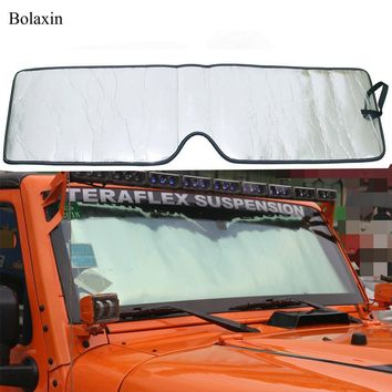 High Quality Auto Accessories Bolaxin Aluminum film  Front Windshield Sunshade Sun shade for Jeep Wrangler JK 2007-2017