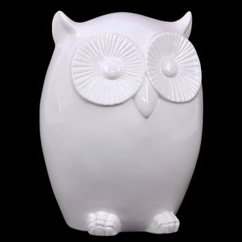 Cute & Charming Ceramic Owl Figurine W/ Smooth Surface & Big Round Eyes In White Lar