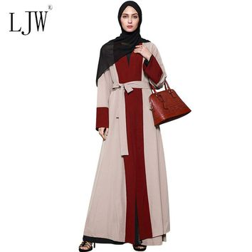 Muslim Middle East Malaysia red brown Cardigan Stitching Maxi Long Sleeved Dress for woman 2017 Autumn Elegant National Constume