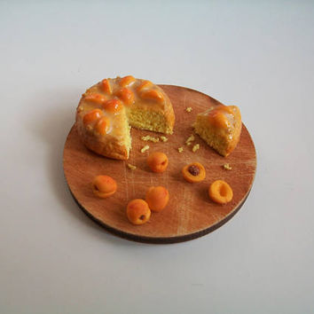 Dollhouse Miniature Clay Food, Apricot Pie, Handmade Miniature Food