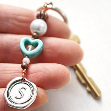 Turquoise Ceramic Heart Personalized Keychain Initial Monogram Wax Seal White Pearl Quartz Boyfriend Gift for Girlfriend Sister Women Mom