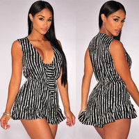 Black and White Stripe Sleeveless Deep V-Neck Romper