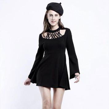Punk Gothic Women Black Long Sleeve Dress Visual Kei Dark Chest Hollow Out Casual Mini Dress Solid Colour for Women