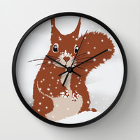 Red squirrel in the winter snow with white snowflakes cute home decor nursery drawing Wall Clock by Bad English Cat