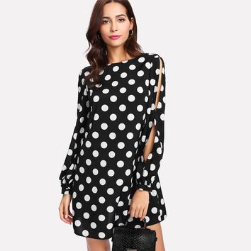 Polka Dots & Bows Mini Tunic Dress