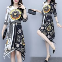 VERSACE Newest Fashion Women Print Long Sleeve Lapel Shirt Dress