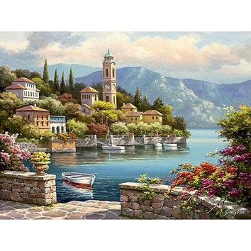 Frameless Romantic Harbor Seascape Diy Painting By Numbers Kits Acrylic Paint On Canvas Handpainted For Home Wall Art Picture