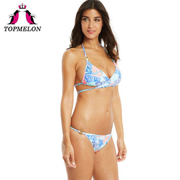 Topmelon Bikini Swimwear Women Sexy Colorful Print Floral Sexy Halter Triangle Brazilian Bikini Beachwear Bathing Women Swimsuit
