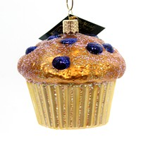 Old World Christmas Blueberry Muffin Glass Ornament