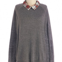 ModCloth Scholastic Mid-length Long Sleeve I'm Plaid You Asked Top