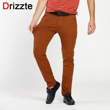 Drizzte Mens 4 Color Slim Chino Soft Denim Stretch Jeans Pants Dress Trouser brown black coffee orange Size 32 33 34 36 38