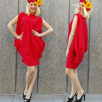 Red Loose Oversize Dress / Red Plus Size Cotton Dress / Summer Plus Size Dress TDK42