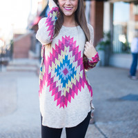 Aztec Or Bust Top, Taupe/Multi