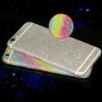 Luxury 360 Full Body Glitter Shiny Sticker For iphone 6 6S 7 Plus 5 5S 5C SE 4S Matte Sparkling Films Phone Protector Case Cover