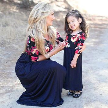 Mother Daughter Matching Floral Half Sleeve Maxi Long Dress