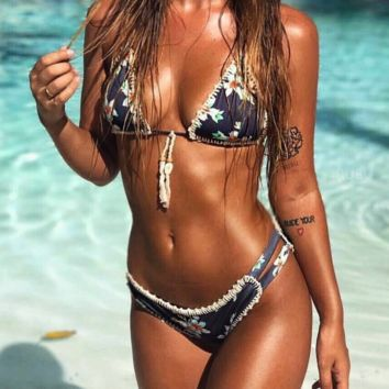 Female hand crochet print bikini woven shell ladies split swimsuit bikini two-piece