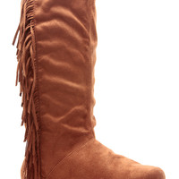 Rust Faux Suede Fringe Calf Length Boots