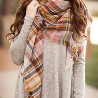Cute & Cozy Plaid Scarf-Mustard