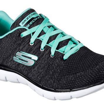 Skechers Black & Aqua Flex Appeal 2.0 - High Energy Shoes