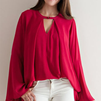 Flare Cutout Blouse - Burgundy