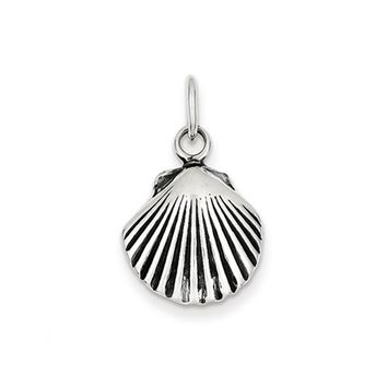 Sterling Silver 15mm Antiqued Seashell Charm or Pendant