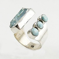 Larimar & Aura Crystal Adjustable Sterling Silver Ring
