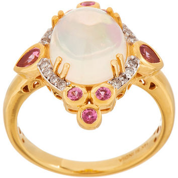 Ethiopian Opal, Pink Spinel and Diamond Ring, 14K — QVC.com