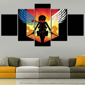 Cool Attack on Titan One Set Modular 5 Panel Anime  Painting Modern Home Decorative Mikasa Ackerman Poster On Canvas Print Style Type AT_90_11