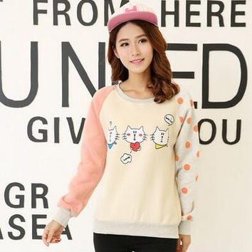Arrival   Hoodies  Fleece  Preppy Style Patchwork Kawaii Printed Pullovers Plus Size Moletom Feminino