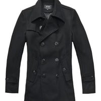 Men Black Woolen Long Winter Coat