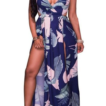 Purplish Blue Leaves Print Tie Back Double Slit High Waisted Maxi Dress