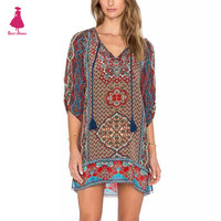 Ethnic Colorful Totem Shift Dress Floral Print Half Sleeve Tie Neck Blouse Hippie Vintage Boho Gypsy Women One Piece Top femme