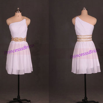 Short white chiffon prom dresses with gold beads,unique one shoulder women gowns hot,cheap simple dress for homecoming party.