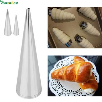 3Pcs Stainless Steel Cake Nozzles Baked Croissants DIY Horn Baking Cake Icing Piping Nozzles Tips Cake Decorating Tools