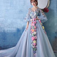 Long Sleeves Ball Gown Evening Dress with Colored Flowers | X035