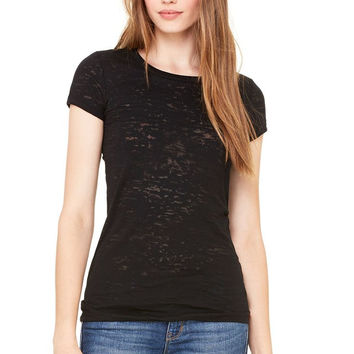 Bella Burnout Short Sleeve Black Tee Shirt Top
