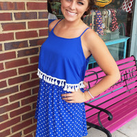 Fall, Fun, & Football Dress - Blue/White