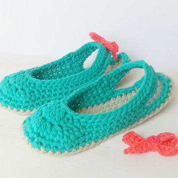 Slingbacks, crocheted, with removeable bow, optional Outdoor-Sole