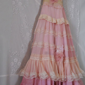 Pink ruffle  dress boho maxi  ruffles romantic  by vintageopulence