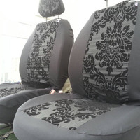 Flower damask charcoal black with flock damask design. Car front seat covers. Protective car seat covers. Car van seat covers
