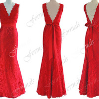 Mermaid Straps V Neck Lace and Satin Red Prom Dresses, Red Evening Gown, Wedding Party Dresses,  Lace Evening Dresses