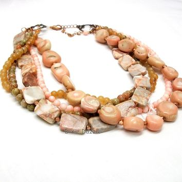 Peach torsade necklace, choker, chunky necklace, multistrand, coral, aventurine, jasper and unakite, copper jewelry by Dixie Dazzle in TN