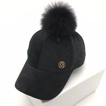 Autumn Winter Casual All-match M Letter Fox Hairball Flat Cap Baseball Cap Women Hat