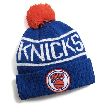 New York Knicks Glow In The Dark Pom Beanie Blue